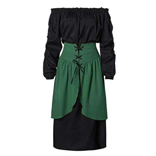 Kleid Mittelalter Gothic Damenkostüm Langes Hemd Kleider + Rock 2-teilig Piebo Mittelalterliches Kostüm Women Lange Ärmel Renaissance-Kleid Victorian Punk Dress Nightgown Medieval Costume Swing Kleid