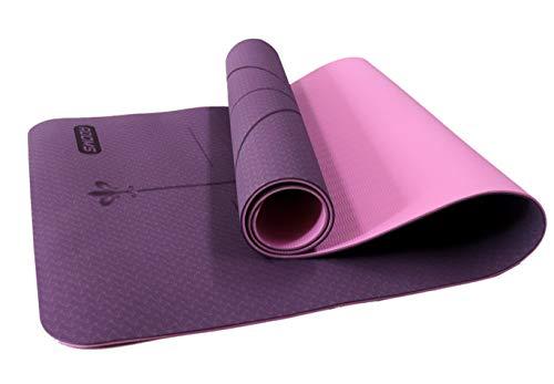 ADOMS - Esterilla yoga   Esterilla deporte antideslizante   Esterilla pilates   Colchoneta gimnasia   183cm x 61cm x 0,6cm (Violeta + Rosa Claro)