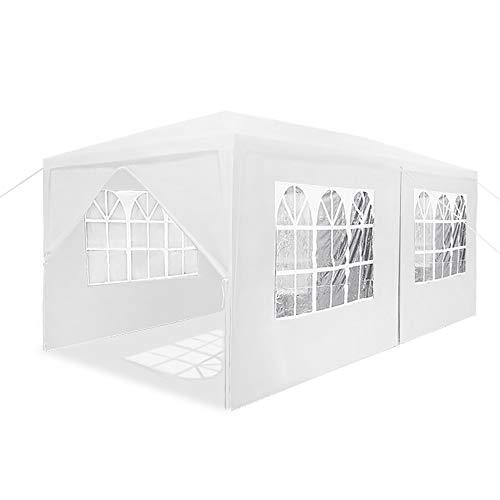 HENGMEI Gartenpavillon 3x6m Gartenzelt Partyzelt Pavillon Festzelt Wasserdicht mit 6/4 Seitenteilen Stahlkonstruktion (Weiß, 6 Seitenwände)