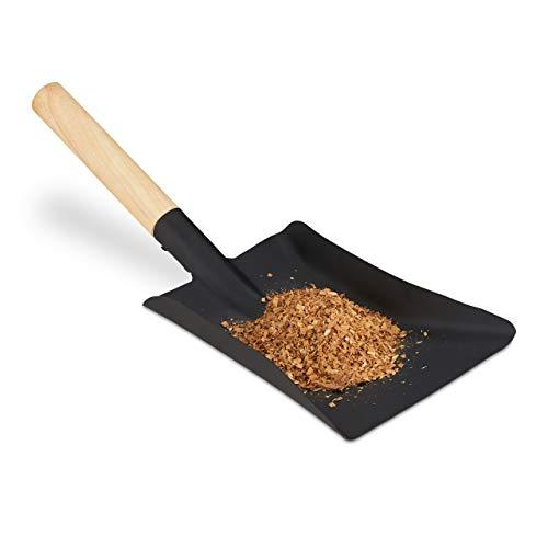 Relaxdays Kehrschaufel mit Holzgriff, Kaminbesteck, Kohleschaufel Ofen & Grill, Ascheschaufel Stahl, 42 cm, schwarz