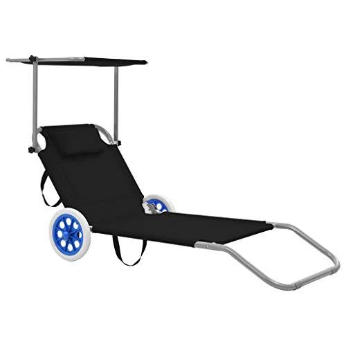 Festnight Chaise Longue Pliable de Jardin Bain de Soleil pour terrasse d'extérieur Patio Noir 146 x 52 cm