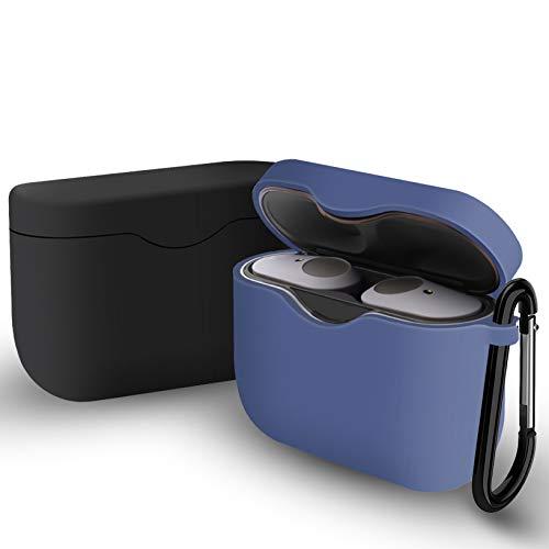 Yoowei [2 Pack] Custodia compatibile con Sony WF-1000XM3 True Wireless Earphones, 2 in 1 Cover in Silicone Custodia + Gancio Msetal, Nero + Blu