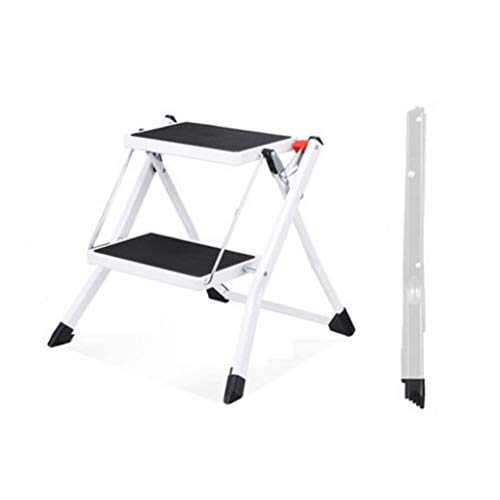 Huahua Meubilair opvouwbare trapladder, 3-staps stalen ladder, eenvoudig op te bergen opvouwbaar – ideaal voor thuis/keuken/garage 150KG maximale capaciteit met anti-slip voeten