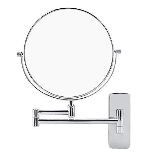 EBTOOLS Kosmetikspiegel Schminkspiegel Make-up Spiegel Rasierspiegel Zweiseitig Wandspiegel 360°SchwenkbarFaltbar Vergrößerungsspiegel mit 1x/10x Fache Vergrößerung Wandmontage, Durchmesser 20 cm