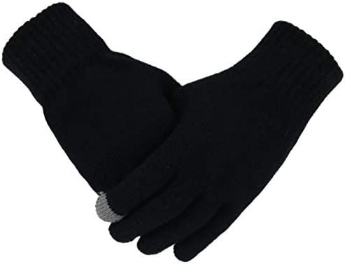 XIAOQIU Gloves Men's Knitted Warm Gloves Winter Autumn Male Touch Screen Gloves Plus Thin Solid Warm Mittens Business Mittens (Color : Black, Gloves Size : Free Size)