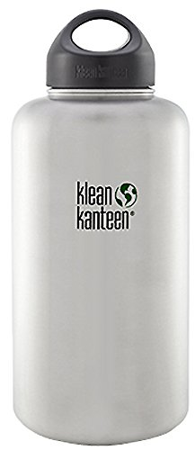 Klean Kanteen Wide Water Bottle with Wide Loop Cap Brushed Stainless Steel 1900 ml / 64 oz