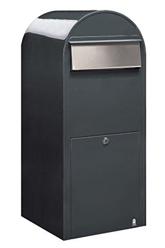 Bobi Jumbo Briefkasten RAL 7016 grau, Klappe aus Edelstahl Wandbriefkasten