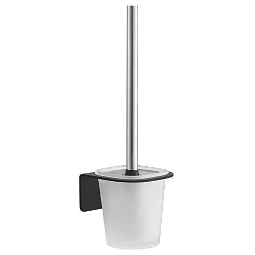 WEISSENSTEIN Escobillero Negro baño Pared Adhesivo | Portaescobillas WC y escobilla de Acero Inoxidable con Soporte de Vidrio