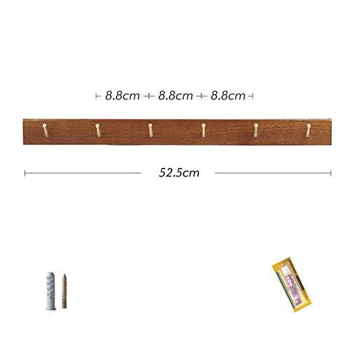 ZXL Wandgarderobe met gatstansen, van massief hout, voor woonkamer, hal, keuken, badkamer, huis, mantel, om op te hangen (kleur: eiken, maat: 5)