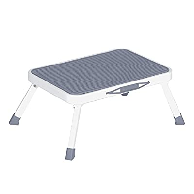 """Folding Step Stool for Adults Seniors,Metal Portable Rv Bathroom Bed Medical Foot Stool with Non Slip Rubber Platform,6.8""""(H)Safety Small One Step Stool,330 Pound Capacity"""