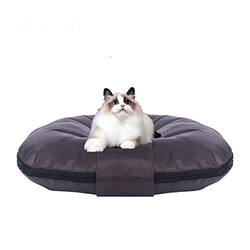 AZHLUF Hundebetten Haustierbett Runde Oxford Schlafmattenpolster Waschbar Big Size, Cat Dog wasserdichte Sofas, Matte für Alle Jahreszeiten (S-XXL) (Color : Brown, Size : M)