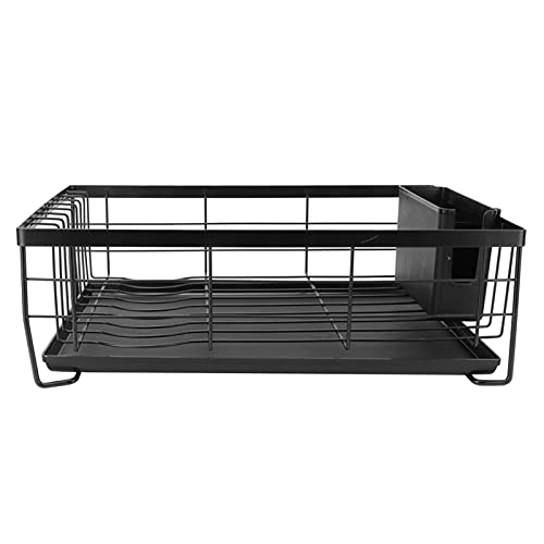 Portaplatos, escurridor de platos de diseño de plancha plana de alta calidad negro para organizador de cocina