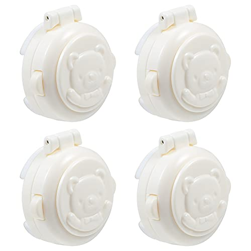 DOITOOL 4pcs Child Safety Locks Washing Machine Button Covers Baby Proofing Safety Locks Latch for Toilet Trash Cans Refrigerator Washer (White)