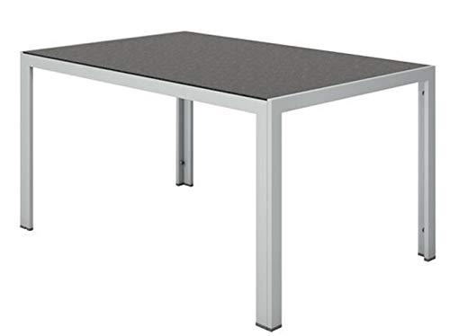 Alu Gartentisch Glastisch Kaffetisch Beistelltisch aus Pulverbeschichteter Aluminium Leichtrahmen und Sicherheitsglas Mit beidseitig gestalteter Wendetischplatte - einfarbig und in Marmor-Optik