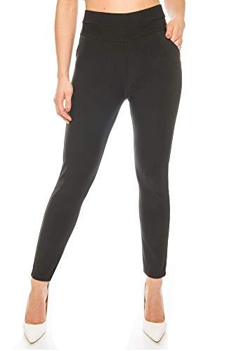 Kendindza Damen-Hose Leggings High-Waist Blickdicht | elastischer Dehnbund | Stretch-Hose mit Hochbund | Stoff-Hose edel & elegant (Schwarz, M)