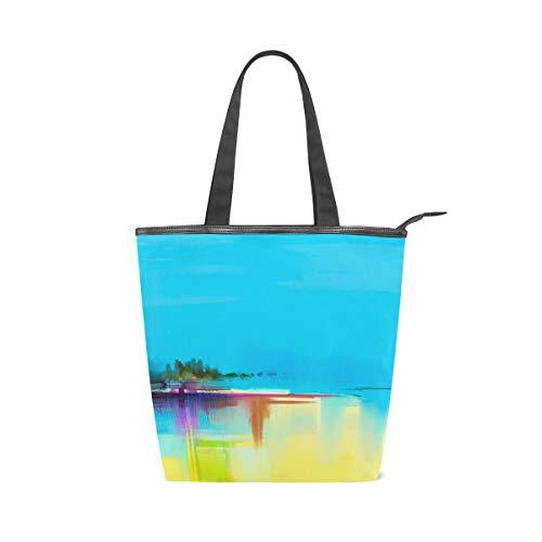 Jeansame Einkaufstasche aus Segeltuch für Damen, Shopper, Tragegriff, Schultertaschen mit Reißverschluss, mediterranes Meer, Ozean, Ölgemälde, Vintage, Sonnenuntergang, Strand, Schiff, Boot