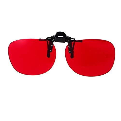 Color Blind Brille Korrektur Frauen Männer Color Blind Brille Examination Clip auf Sonnenbrillen Colorblind Fahrer Brillen (Color : Red)
