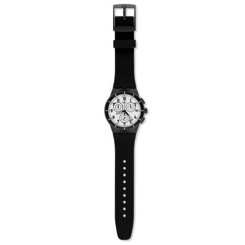 Swatch SUSB401 - Reloj cronógrafo de Cuarzo Unisex con Correa de Silicona, Color Negro