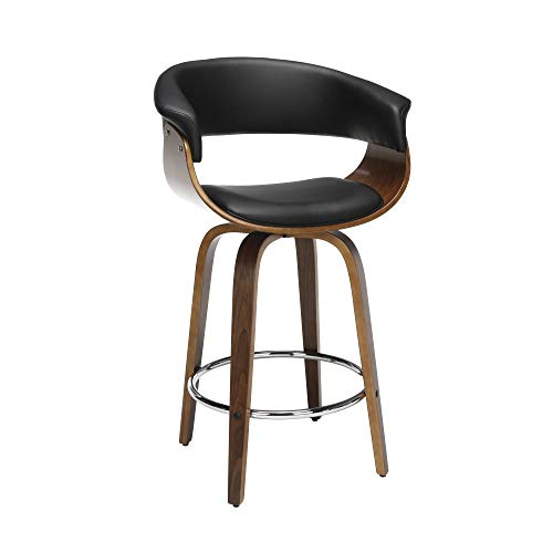 OFM 161 Collection Mid Century Modern 26' Low Back Bentwood Frame Swivel Seat Stool, Vinyl Upholstery, in Black (161-WV26D-BLK)