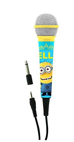Despicable Me-Minions, Gru mi villano favorito-micrófono para karaokes, con Jack 3,5 y Adaptador 6,3 mm (Lexibook MIC100DES), color azul/amarillo