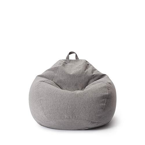 Lumaland Comfort Line Sitzsack L Indoor - 80x90x50 cm - Bodenkissen, Bean Bag Chair, Sessel - 185 L - EPS Perlen Füllung - ideal für Kinderzimmer, Wohnzimmer, Arbeitszimmer - Hellgrau