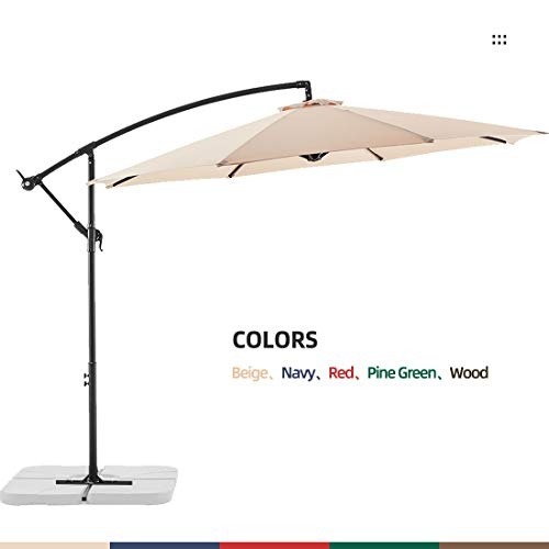 Le Conte Offset Umbrella 10ft Cantilever Patio Hanging Umbrella Outdoor Market Umbrellas with Crank...