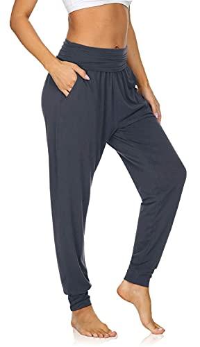 UEU Women's High Waist Cozy Casual Yoga Joggers Pants Loose Fitting Workout Grey Sweatpants Baggy Comfy Lounge Sweat Pants with Pockets(Darkgray,M)