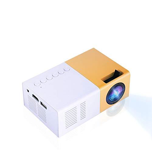 Mini proyector portátil, proyector LED de Bolsillo Compatible con Full HD Mini proyector LED Compatible con HDMI, AV, VGA, Cine en casa USB y Entretenimiento al Aire Libre(Amarillo)