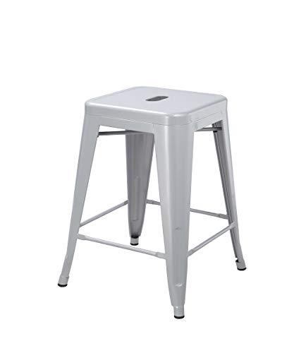 1x Stuhl Hocker Metall Barhocker Industry Design Farbwahl Küchenstuhl STAPELBAR Esszimmerstuhl Retro, Farbe:Silber, Material:Metall
