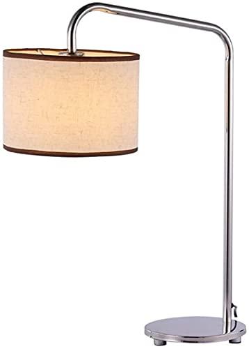 SpiceRack Lámparas para Dormitorio, lámpara de Escritorio de Acero Inoxidable Diseño de Pesca Curvo con Pantalla de Tela E27 Luz Moderno y Sencillo Estilo de Hotel Estudio Iluminación de ofi