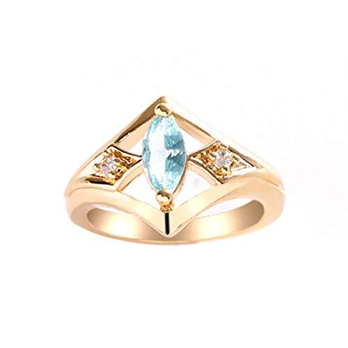 EzzySo Anillo de Piedras Preciosas de Ojos de Caballo, Americana Simple luz marítimo mar marítimo diseño de diseño de Diamante Damas Anillo joyería (2 Piezas),10