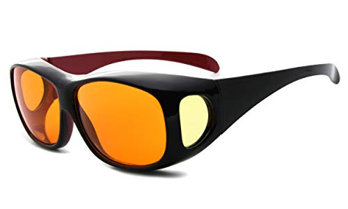 Eyekepper 100% reducción de la luz azul, enorme fitover anti-azul bloqueo de gafas de ordenador con lentes ámbar extra, Negro Rojo