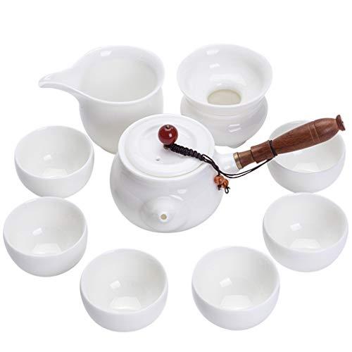 Juego De Té - Taza De Té De Tetera Lateral De Madera Maciza, Caja De Regalo con Juego De Té De Alta Porcelana Blanca Kung Fu