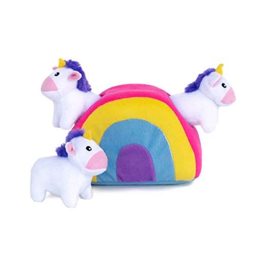 ZippyPaws - Zippy Burrow Interactive Squeaky Hide and Seek Plush Dog Toy - Unicorns in Rainbow
