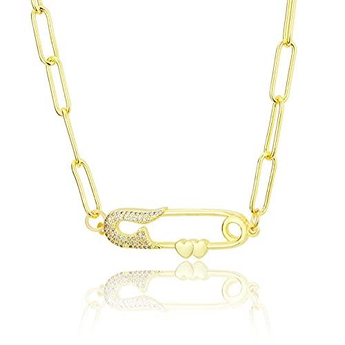 ShSnnwrl Colgante Collares Pendientes de Pasador de Seguridad de circonita cúbica mínima, Collar de Cadena de Color Dorado para m