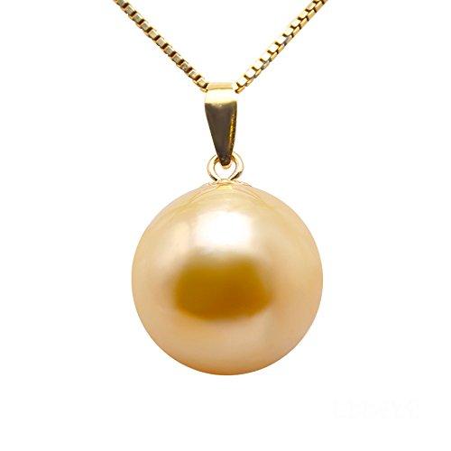 JYX Perlenkette 18 K Gelbgold AAA+ Qualität Wunderschöne echte 11,5 mm runde goldene Südsee-Zuchtperle Anhänger Halskette für Frauen als Geschenk