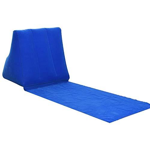 Faderr Colchón de Playa con Forma de cuña Inflable para Espalda, portátil, Plegable, Impermeable, para Tumbona, Cama de Aire, colchón, para Playa, Camping, Senderismo, Azul, Tamaño Libre