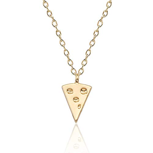YOOE Cute Geometric Triangle Cheese Pendant Necklace,Creative Pizza Stitching Chain Good Friend Soul Sister Necklace (Gold)