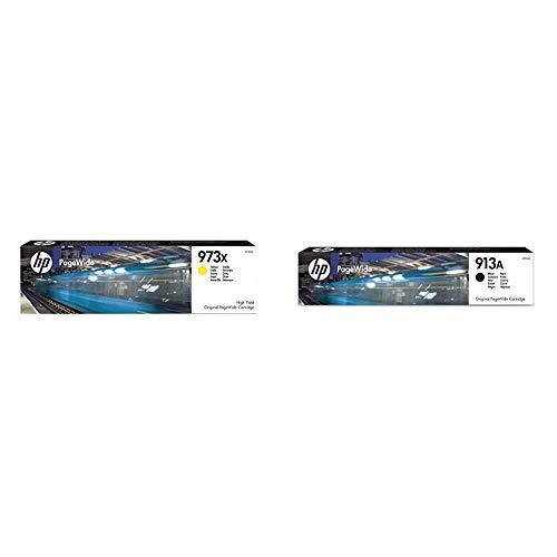 HP F6T83AE 973X Cartucho de Tinta Original de alto rendimiento, 1 unidad, amarillo + L0R95AE 913A Cartucho de Tinta Original, 1 unidad, negro