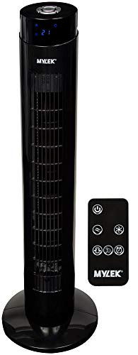 MYLEK Tower Fan Electric Oscillating with Remote Control, Timer, Quiet and 3 Cooling Speed Settings, Energy Efficient - Black, 34'