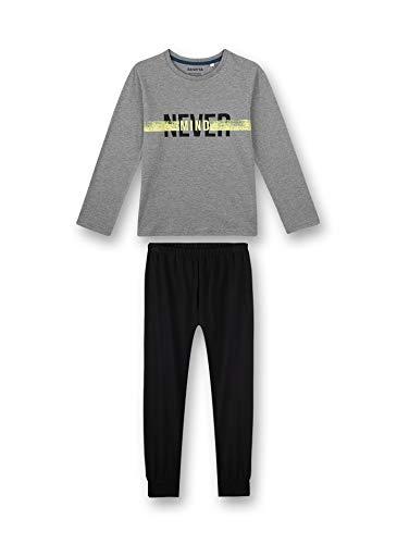 Sanetta Jungen Schlafanzug lang grau Pyjamaset, Elite Grey Mel, 188
