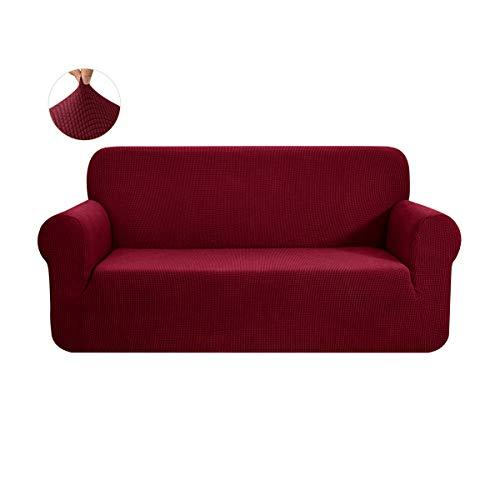 CHUN YI 1-Stück Sofa Überwürfe Sofabezug Jacquard Elastische Stretch Spandex Couchbezug Sofahusse Sofa Abdeckung (2 Sitzer, Weinrot)