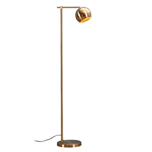 Lámpara de pie Lámpara de pie LED Lámpara de pie vertical de hierro simple Pantalla de hardware Herrajes Dormitorio Sala de estar Lámpara de cabecera Altura ajustable Lámpara de Suelo ( Color : Gold )