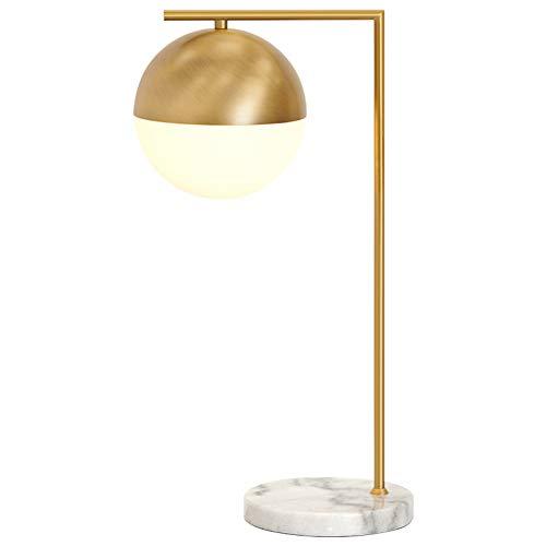 CUICAN ronde bol tafellamp, eenvoudige post-moderne nordic stijl marmer base K rper van messing glas helder lampenkap voor slaapkamer bureau nachtkastje bureaulamp