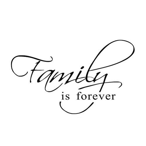 Vosarea La Familia es para Siempre Etiqueta de la Pared Vinilo Tatuajes de Pared Citas Inspiradoras Arte de la Pared Decoración