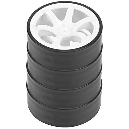 Neumáticos de Coche RC Drift de 26 mm, Llantas de plástico con neumáticos de Goma, fácil de Instalar Profesional para Coche de Alta Velocidad con Control Remoto 1/10(Blanco)