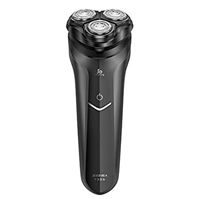 SID Black Rotary Men's Dry Electric Shaver 3 Heads with Integrated Precision Pop-up Trimmer Turbo Plus Rechargeable and Cordless Razor, USB Cable from SID
