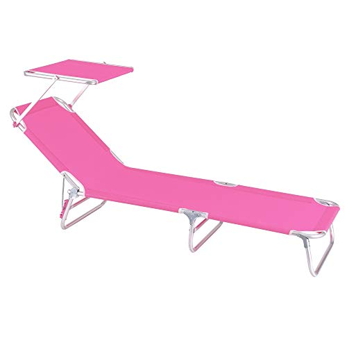 Tumbona Playa Cama con Parasol de 3 Posiciones de Aluminio y textileno de 190x58x25 cm (Rosa)