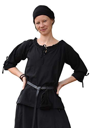 Battle-Merchant Mittelalter Bluse Birga aus Baumwolle mit 3/4 Arm - Mittelalter Kleidung Damen (Small, Schwarz)