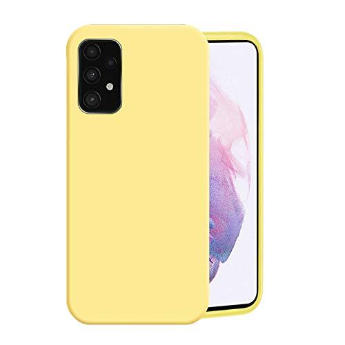 Funda para Samsung A52(4G,5G),Fundas Samsung Galaxy A52 De Líquida Silicona TPU Antigolpes Case,Cubierta a Prueba Golpes con Forro De Microfibra (Samsung Galaxy A52 5G, Amarillo)